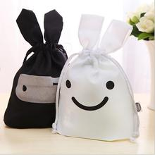 New Design Non-Woven Fabric Ninja Rabbit Travel Laundry Lunch Storage Drawstring Pouch Bag Pocket 2 Colors For Home Supplies