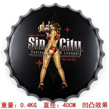 Sin City Casino&lounge 40cm Sexy Lady Vintage Metal AD Sign Tin Signs Bar/Car Garage Living Room Wall Decor Beer Bottle Cap Ajax