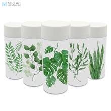Plastic Insulated Watercolor Green Leaves Floral Kids Water Bottles 300ml Gifts BPA Free Clear Personalized Modern Abstract(China)