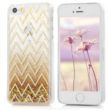 Glitter Plating Dynamic Liquid Bling Star Sand Quicksand Case For iPhone 5 5S SE Crystal Clear Transparent Hard PC Back Cover