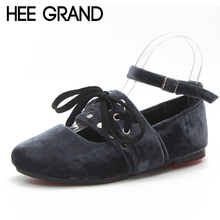 HEE GRAND Women Ballet Flats Lace Up Summer Style Casual Flock Fur Platform Shoes Woman Loafers Spring 3 Colors XWD6382(China)