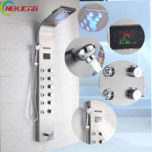 Wall Mounted Shower Panel Rain Waterfall Shower Faucet 6pc Massage Jets Tower Shower Column with  Hand Shower Tub Spout