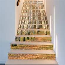 13 Pieces/Set DIY 3D Stairway Stickers Tile Ceramic Geometric Flower Pattern for Home Stairs Decoration Floor Wall picture(China)