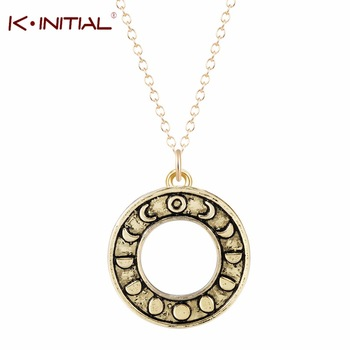 1Pcs Fashion Moon Phase Circle Pendant Necklace Astrology Jewelry Moon Phases Necklace For Women Dress Love Accessories