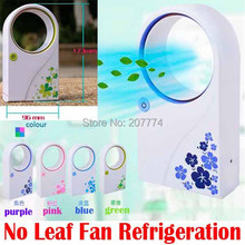 Portable Handheld Mini Air Conditioner Bladeless Fan Desktop W/O No Leaf Air Cooling Fan ultra quiet USB or Battery condition