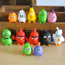 Fast Ship 12pcs Cartoon Game Birds Red Blue Terence Angrypug Model Doll Toys Action Figures Home Party Cake Decoration Kids Gift