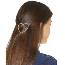 Trendy Women Hair Accessories Jewelry Boho Golden Alloy Metal Hairgrips Hair Cilps Lady Love Heart Geometric Hair Pins As Gift(China)