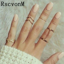RscvonM 6 Pcs Punk style Midi ring sets Gold Color Knuckle Ring for women Finger ring Fashion accessories jewelry(China)