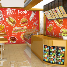 Free Shipping large-scale murals non-woven hamburger French fries coffee shop snack bar wallpaper mural