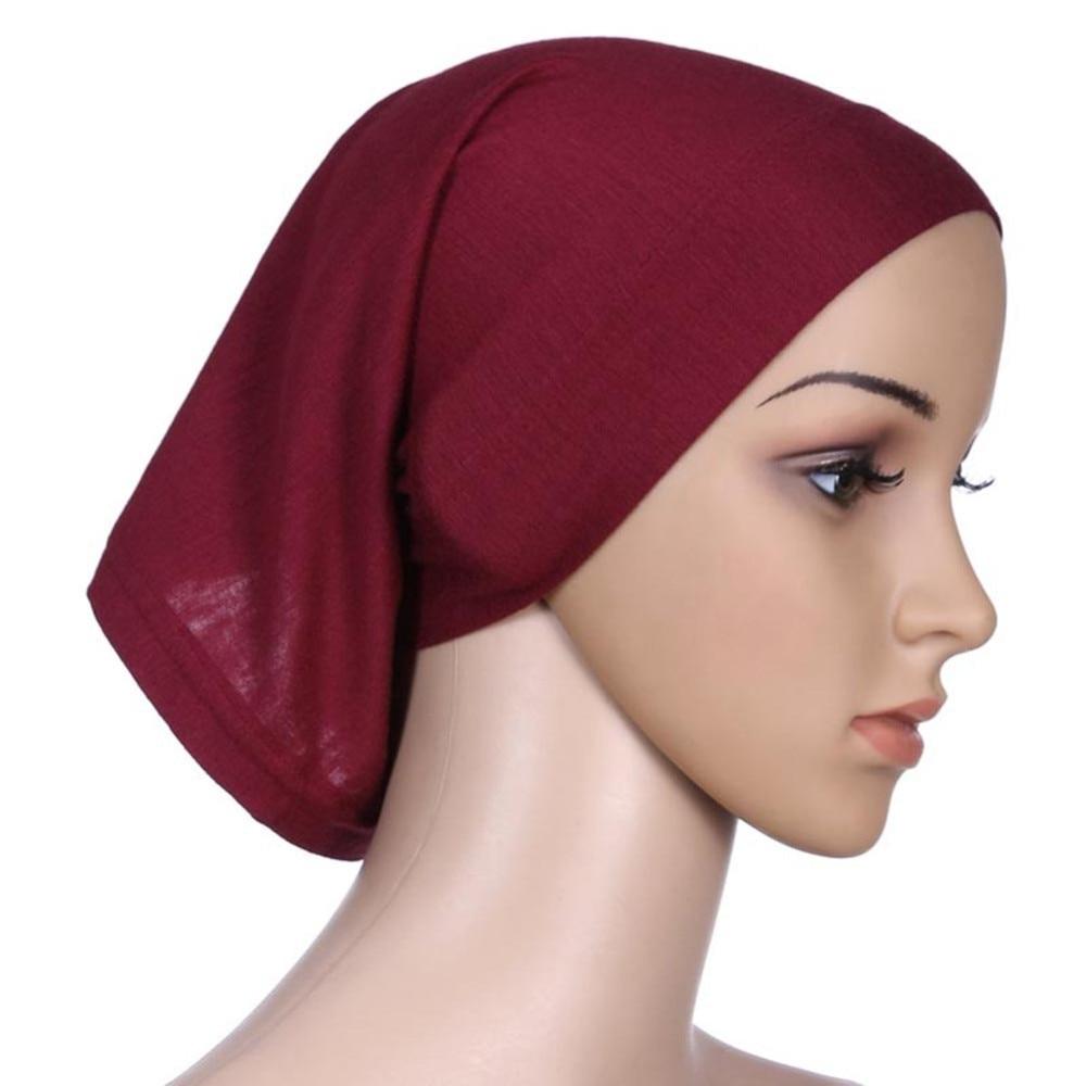 ROPALIA Women Fashion Islamic Hijab Cap Scarf Tube Bonnet Hair Wrap Female  Colorful Head Band 3