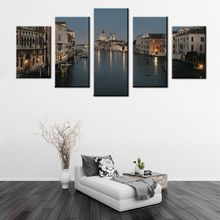 Top Sale Art Grey 5pcs Wall Art Painting Grand Canal By Sea In Night In Venice Print On Canvas City Picture for Home Decor Gifts