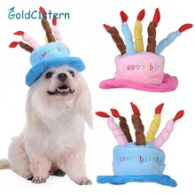 Caps For Dogs Pet Cat Dog Birthday Caps Hat with Cake Candles Design Birthday Party Costume Headwear Accessory Goods For Dogs(China)