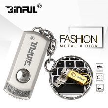 Metal rotatable usb flash drive key chain pen dirve usb 2.0 pendrive 4GB 8GB 16GB 32GB Memory stick U disk with flash stick(China)