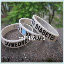 SOMEONE I LOVE HAS DIABETES AWARENESS WRISTBAND,silicone wristband,filled in colour,silicone band,100pcs/lot,free shipping(China)