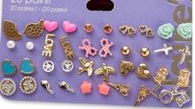 Min Order $10 Claire stud earring pack set 20 pairs birdIcecream stars cross flower love heart(China)