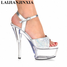 15 cm high heel waterproof crystal shows pink sandals Special stage shoes big yards for women's shoes