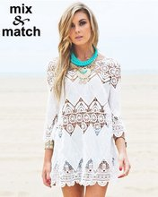 New Women Beach Blouse Openwork Crochet Lace applique White Blouse Three quarter sleeve Long length Tops BL08769