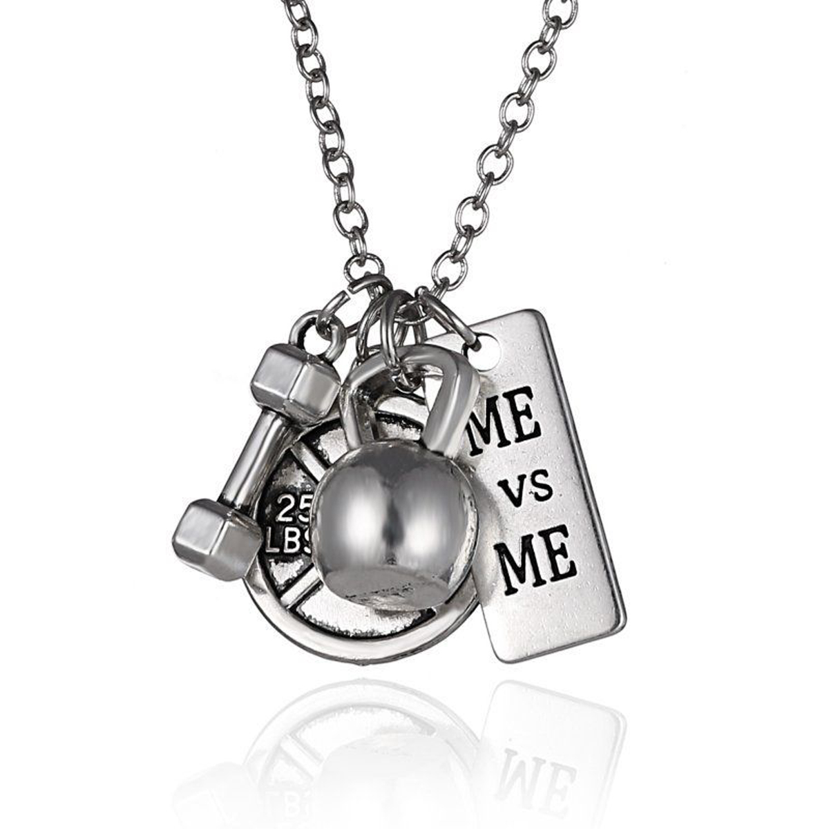 Vintage Dumbbell Necklace Barbell Gym Sport Fitness Weight Pendant Necklaces Shellhard Men Kolye For Women Men Jewelry Bijoux