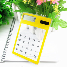 Ultra Slim Solar Touch Screen LCD 8 Digit Electronic Transparent Calculator  8.3*12cm  cute light device solar calculator
