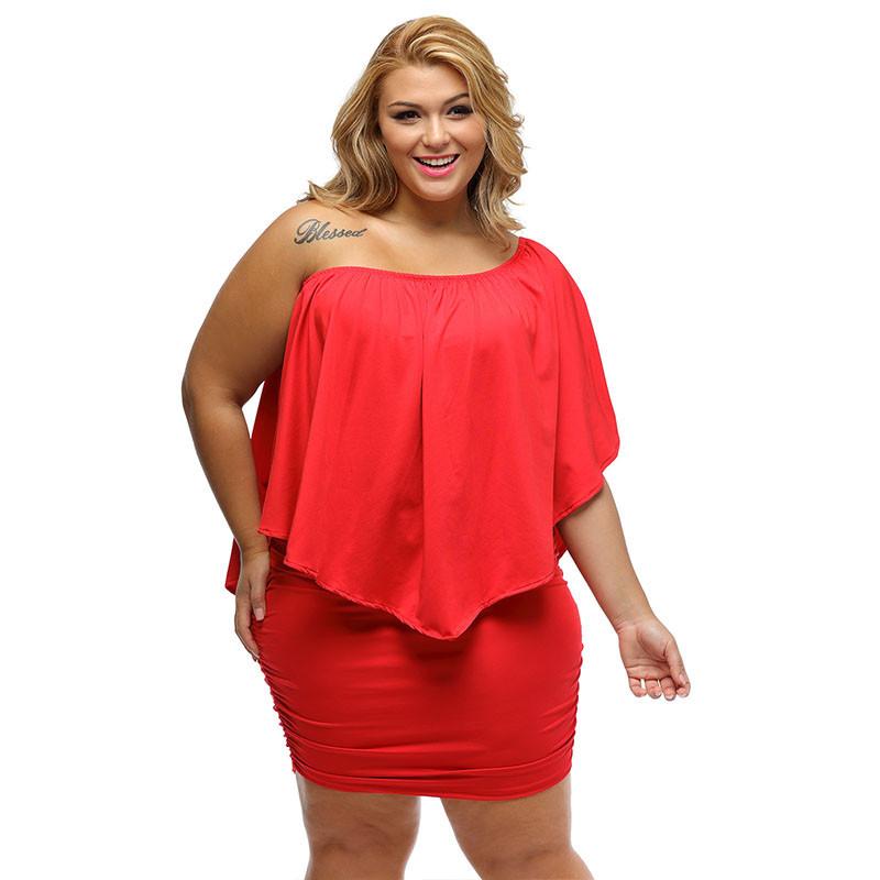 17 Women Plus Size Layered Dress Red Off Shoulder Femme Sexy Autumn Dresses Large Big Size Women Casual Mini Dress XXXL XXL 7