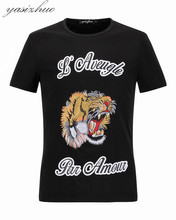 High Quality Fashion T-Shirt Print Tiger Embroidery Design Summer Men O-neck Short Sleeve T Shirts Brand Tees Plus Size M-XXXL
