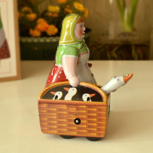 Classic Women Tinwork Toys Collection Handmade Wind Up Buying A Goose Women Toys Tin Toys Showcase Decoration