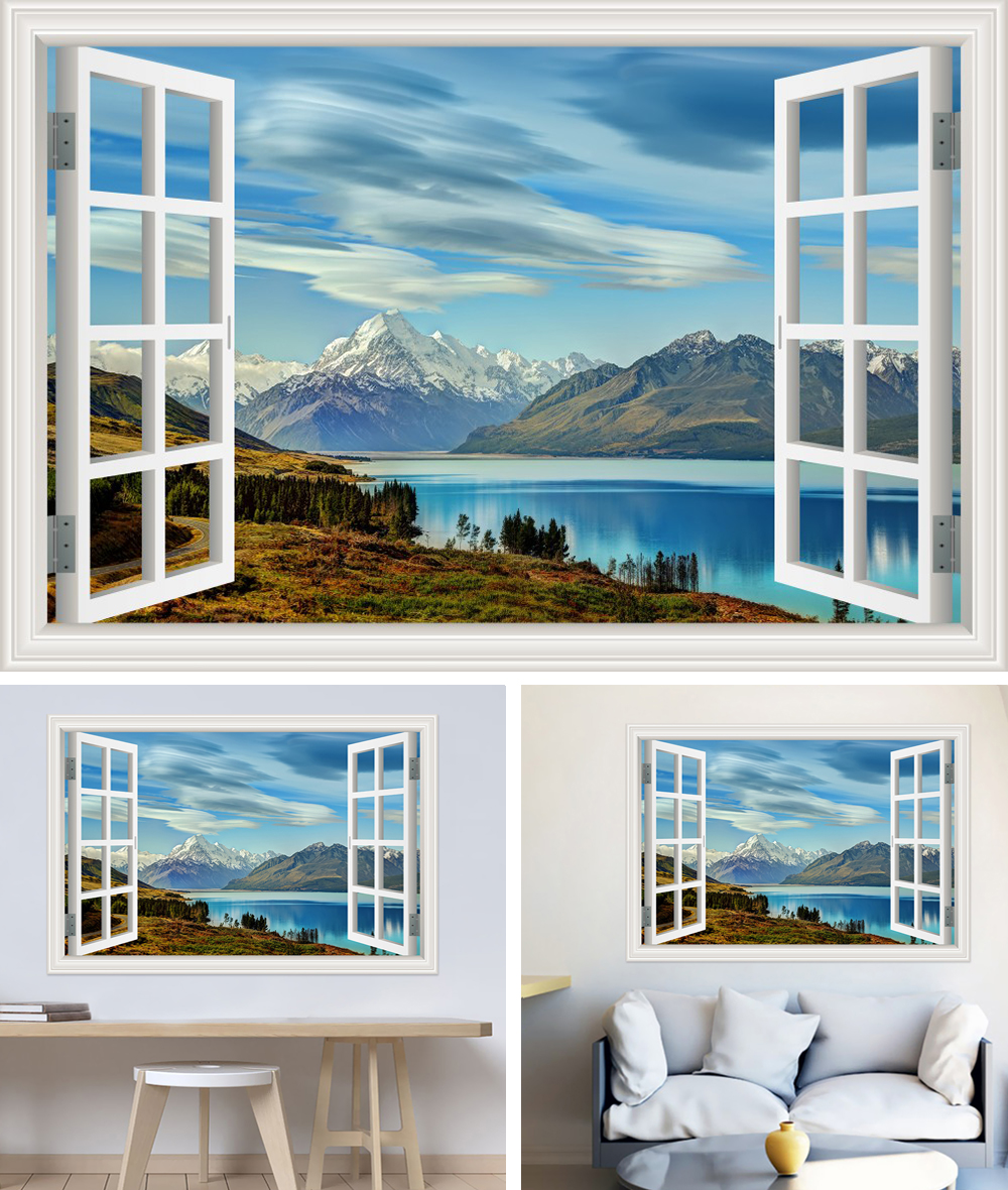 HTB1EMHeh46I8KJjSszfq6yZVXXaB - Modern 3D Large Decal Landscape Wall Sticker Snow Mountain Lake Nature Window Frame View For Living Room