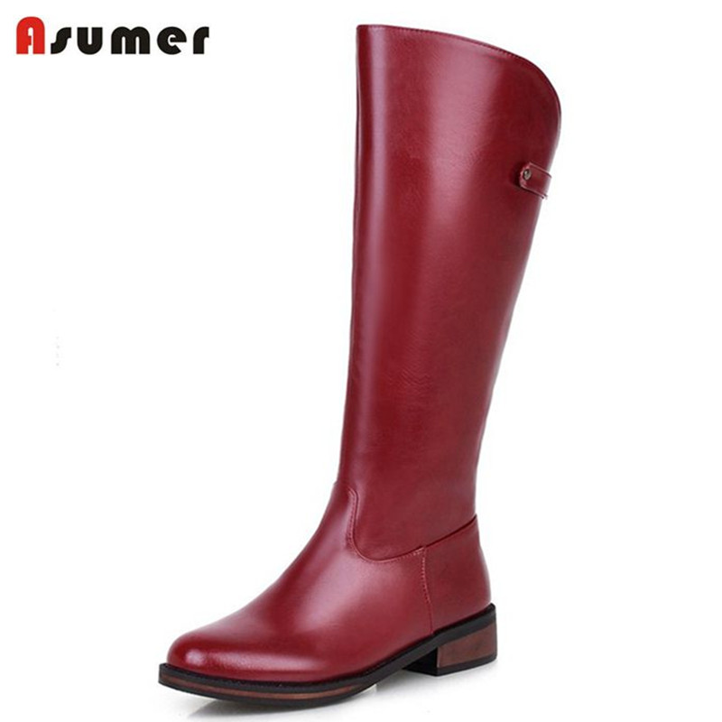 Asumer Big and small size hot sale half boots solid colors zip simple women shoes round toe low heels platform winter boots<br>