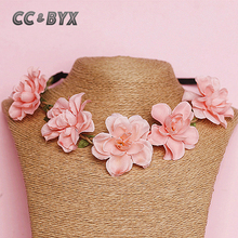 CC&BYX Beautiful Pink Flower Necklace For Lovely Women Girl Using In Weeding Party Gifts For Your Lover Bride Accessories 4931