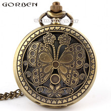 Beautiful butterfly pocket watch unique high quality new design big size graceful women quartz pocket watch good-looking P40
