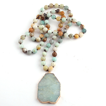 Fashion Bohemian Tribal Jewelry Amazonite Stone Blue Green Pendant Necklaces For Women Ethnic Necklace(China)