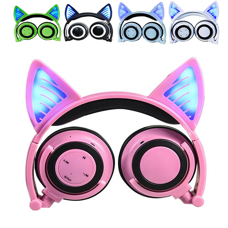 Bluetooth Wireless Cat Ears Headphones Folded Headband earphone with LED cosplay Headset For Mobile Phone PC Laptop for kids men<br>
