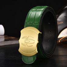 2017 Gold Spider Buckle Men Genuine Leather Belt Business Casual Belts Black Coffee Green Orange Quality Guarantee ZH332