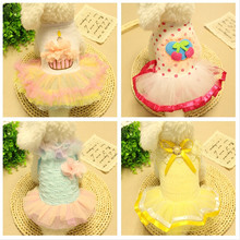 Princess Floral Party Bridal Wedding Dress Tutu Small Dog Puppy Skirt Doggy Photo Apparel Stretchy Clothes Mesh Costume Spring