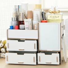 Five kinds DIY Wooden Storage Box Makeup desk drawer Cosmetic Box Jewelry Storage Case Organizer with Mirror