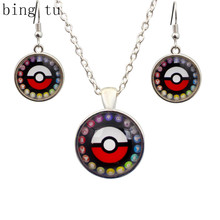 Bing Tu Red Pokemon Jewelry Sets Silver Color Round Ball Necklace Earrings Vintage Costume Accessories Women Jewellery bijoux