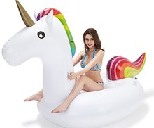200cm Giant Unicorn Pool Float Summer Ride-On Inflatable Swimming Ring Adult Children Holiday Party Water Toy Rainbow Pegasus(China)