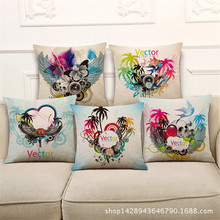 wholesale Trend fashion music elements Rock Colorful flowers wedding gift Cushion cover home sofa car Decorative Pillow case
