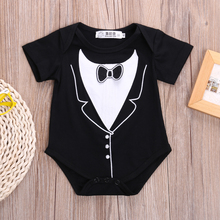 summer romper wholesale infant newborn baby girl boy tuxedo romper gentleman short sleeve clothes
