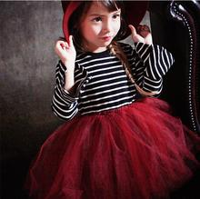 Girls dresses 2017 Autumn England style girls clothes Holiday party wear lace girls dress Birthday gifts for girl(China)