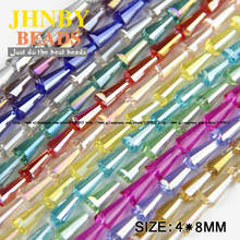 JHNBY Tower shape Upscale Austrian crystal beads conical loose beads glass ball 4*8mm 70pcs supply bracelet Jewelry Making DIY()
