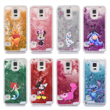 Cute cartoon glitter Bling Crystal phone case for Samsung Galaxy S5 i9600 mickey Minnie Stitch Mermaid Liquid Quicksand Cover(China)