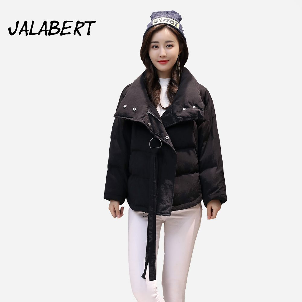 2017 winter new women loose the coat Female short fashion lapel Raglan sleeves warm Parkas Solid irregular Hem jacket Îäåæäà è àêñåññóàðû<br><br>