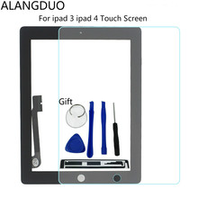 ALANGDUO Screen For ipad 3 iPad 4 A1416 A1458 Replacement Tablet Panel Touchscreen Glass Digitizer&Tools 3M Glue+Tempered Glass