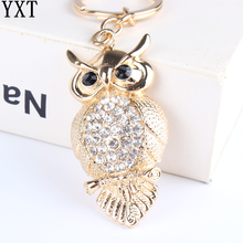 Owl Bird Turtle Pendant Charm Rhinestone Crystal Purse Bag Keyring Key Chain Accessories Wedding Party Lover Friend Gift