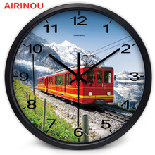 Airinou American Retro Snow Mountain Train Wall Clock Home Decor Real Scenery Clock Gift