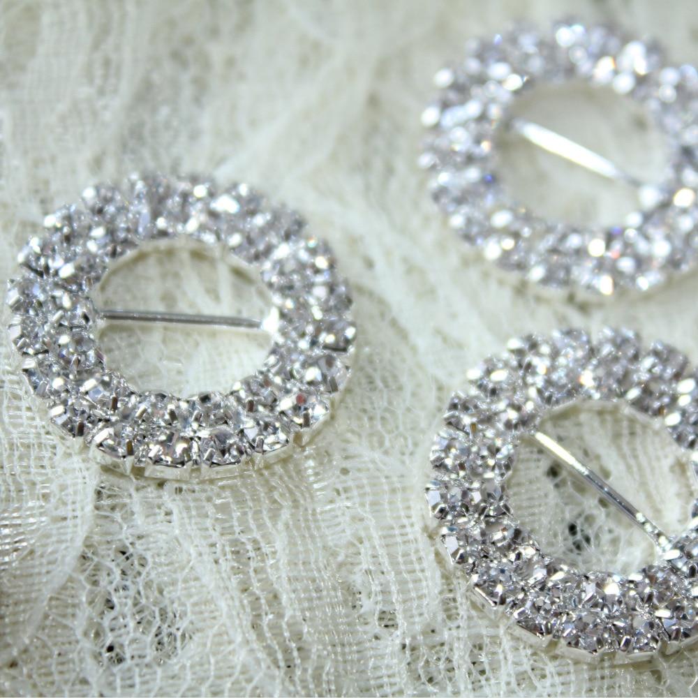 50pcs 16mm Silver Round Rhinestone Buckle Slider for Wedding Invitation Decor Christmas Buckles