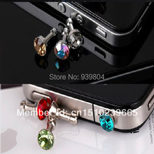 Wholesale diamond Earphone Headphone anti Dust plug dust Cap for iphone 4 4s for 3.5mm plug mobile phone