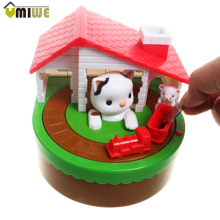 Cat House Money Saving Box Electric Stealing Coin Money Penny Bank Money Saving Box For Kids Kitty Cat Coin Money Storage Box(China)