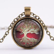 Tree of Life Glass Cabochon Necklace Statement Pendant Necklace Time Synthetic Gemstone Pendant Necklace G95